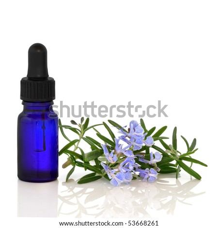 Rosemary herb flowers with aromatherapy blue glass essential oil dropper bottle, over white background with reflection. - stock photo