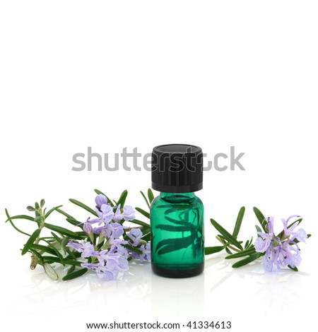 Rosemary herb leaf sprig with flowers and an aromatherapy essential oil glass bottle, over white background. - stock photo
