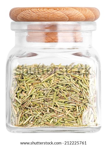 Rosemary in a glass bottle. Isolated on white background - stock photo