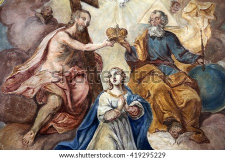 ROSENBERG, GERMANY - MAY 06: Coronation of the Virgin Mary, fresco on the ceiling of the Church of Our Lady of Sorrows in Rosenberg, Germany on May 06, 2014. - stock photo