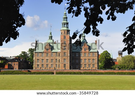 Rosenborg Castle - a small renaissance Castle in the very center of Copenhagen build by King Christian IV as a summer residence outside the town. - stock photo