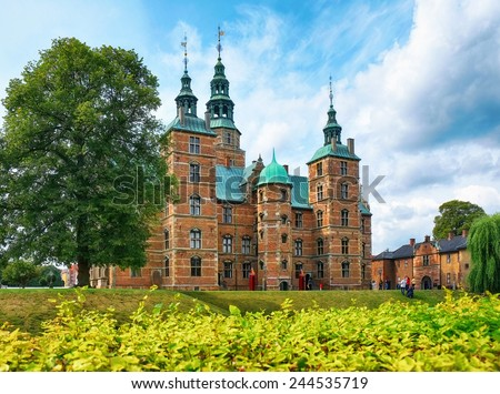 Rosenborg Castle in Copenhagen, Denmark.  Built in the Dutch Renaissance style in 1606 during the reign of Christian IV. The castle was used by Danish regents as a royal residence until around 1710. - stock photo