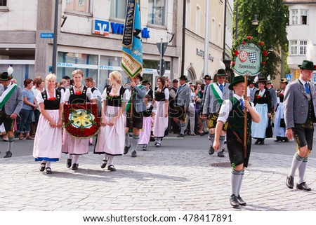 Rosenheim, Germany - September 4, 2016: folklore society Innviertler Rosenheim at Thanksgiving Parade in Rosenheim / Germany