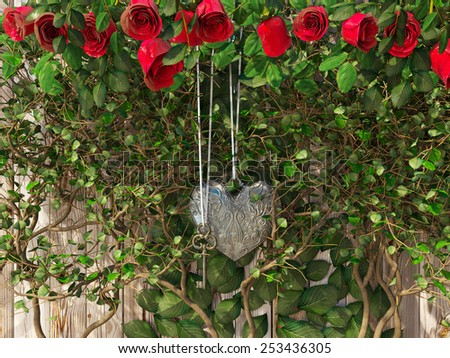 Roses and a heart with key on wooden board, conceptual holiday background - stock photo