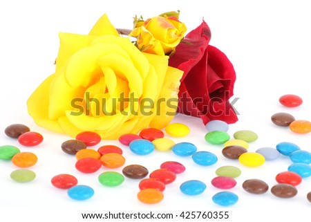 Roses and candies - stock photo