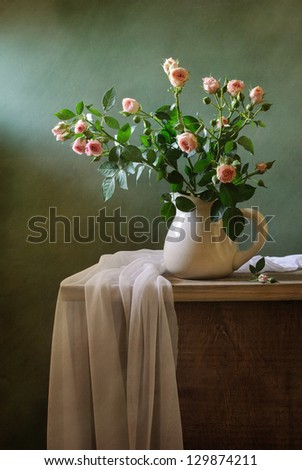 Roses and drapery - stock photo