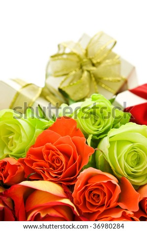 roses and gift boxes on white background