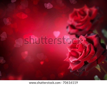 Roses and Hearts background.Valentine or Wedding Card. - stock photo