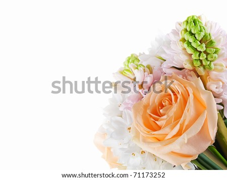 Roses and Hyacinth wedding bouquet background - stock photo