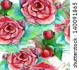 Roses and little apple. Seamless watercolor pattern. Abstract watercolor hand painted backgrounds. Raster illustration. - stock photo