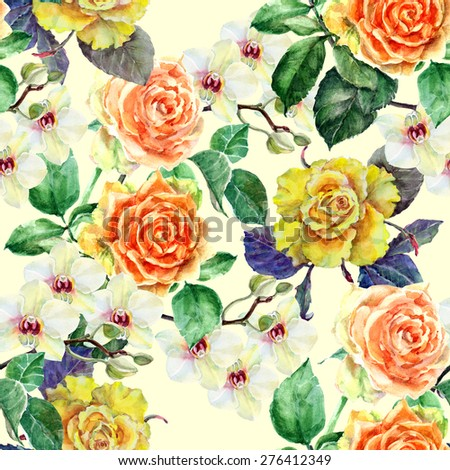 Roses and orchid, watercolor - stock photo