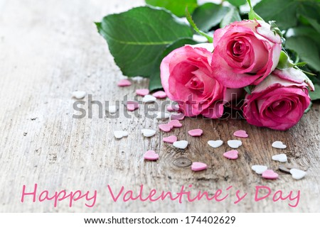 roses and text happy valentines day  - stock photo