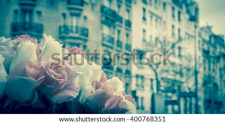Roses and typical Parisian street at background. Toned photo. - stock photo