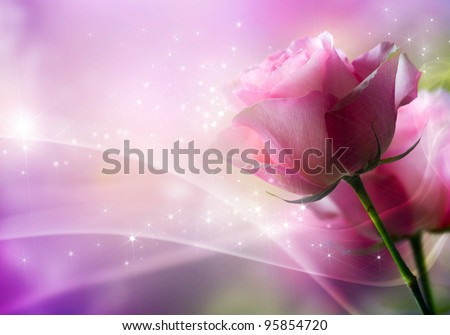 Roses Art Design. Invitation Card - stock photo