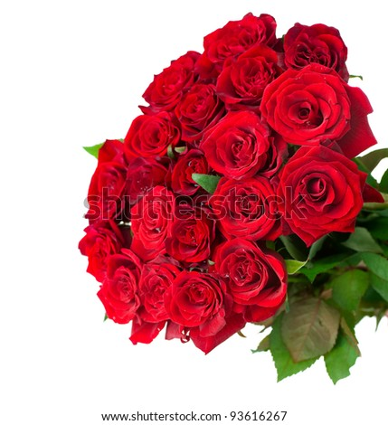 Roses Big Bouquet over white - stock photo