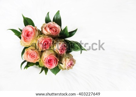 Roses Bouquet in White Background - stock photo