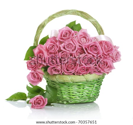 Roses Bunch in the Basket - stock photo