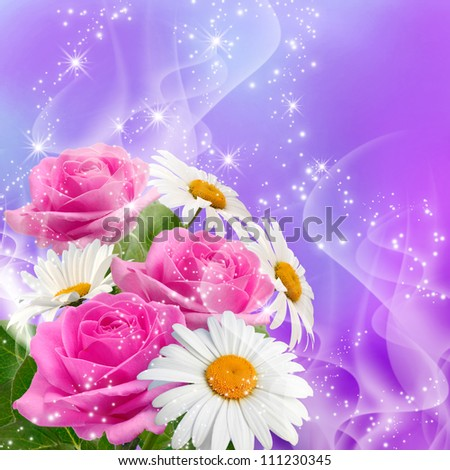 Roses, daisy and shine stars - stock photo