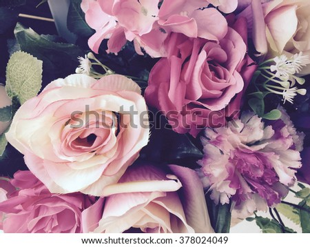 Roses flowers and petals background,Decorate flowers for wedding, color effect