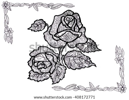 Roses Flowers Artwork Coloring Book Page Stock Illustration ...