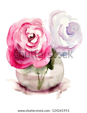 Roses flowers, watercolor illustration - stock photo