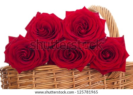 Roses in a basket - stock photo