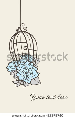Roses in a cage for birds. - stock photo