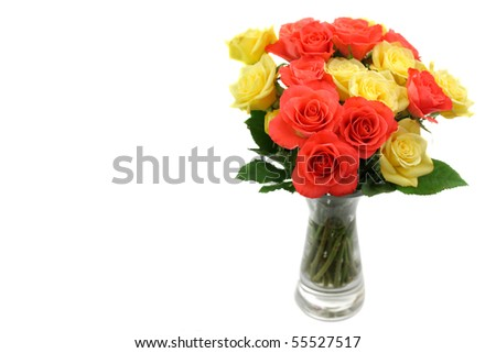 Roses in a vase isolated on white background