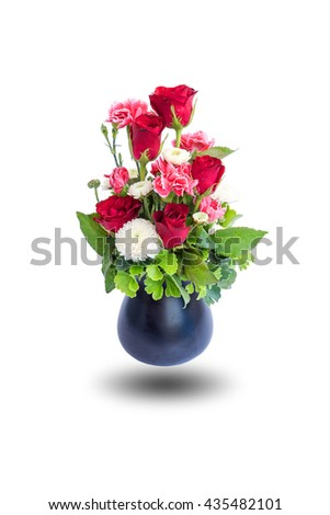 Roses in ceramic vase isolated on white background. - stock photo