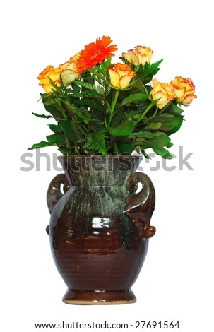 roses in flowerpot on white background