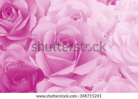 roses made from paper for Valentine's Day background.