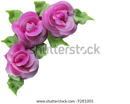 Roses made of frosting - stock photo