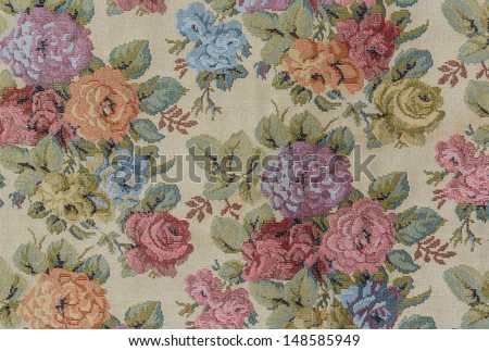 roses pattern of  tablecloth - stock photo