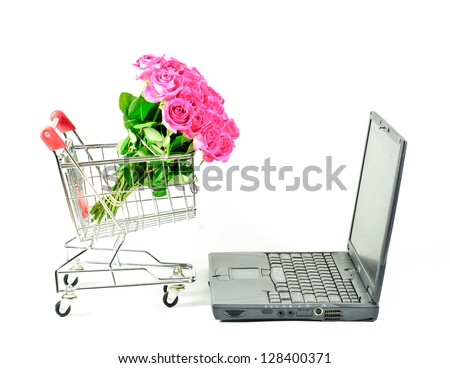 Roses Pink in a Shopping Cart with Computer