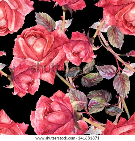 Roses Seamless Pattern - stock photo