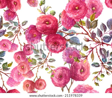 Roses seamless pattern. - stock photo