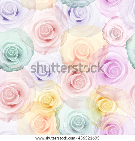 Roses seamless pattern. Vintage colorful texture background.Watercolor style.