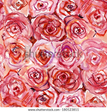 Roses Seamless Pattern. Watercolor. - stock photo