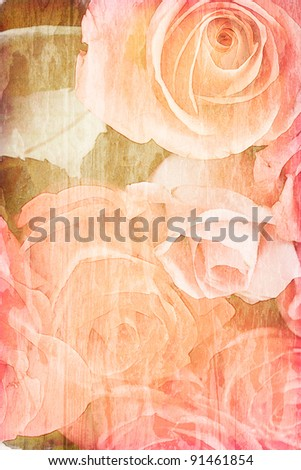 roses vintage, on the old paper background