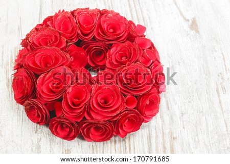 Roses wreath. Garland of Roses Wreath. Copy space composition