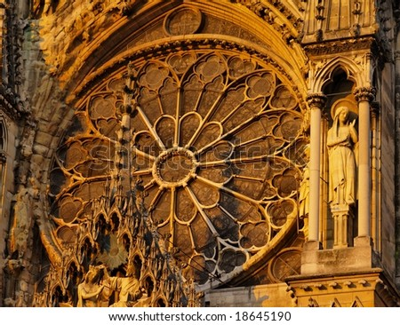 Rosette in Reims Cathedral, France - stock photo