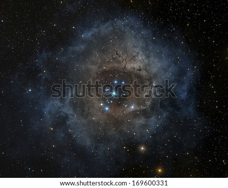 Rosette nebula in the constellation of Unicorn - stock photo