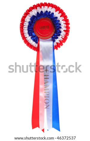 Rosette with the word Champion isolated on a white background - stock photo
