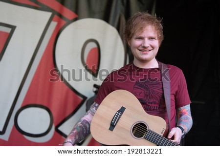 ROSEVILLE, CA - May 11: Ed Sheeran performs in support of Sacramento radio station 107.9's EndFest  at Placer County Fairgrounds in Roseville, California on May 11, 2014 - stock photo