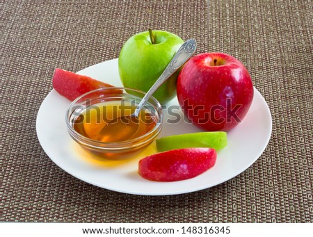 Rosh Ha Shana. Red and Green apples. - stock photo