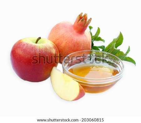 rosh hashanah concept - apple honey and pomegranate isolated. traditional holiday symbols. - stock photo