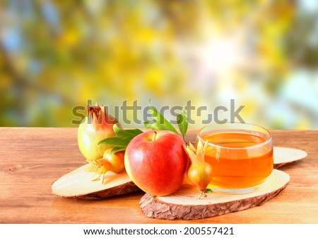 rosh hashanah concept - apple honey and pomegranate over wooden table. filtered image - stock photo
