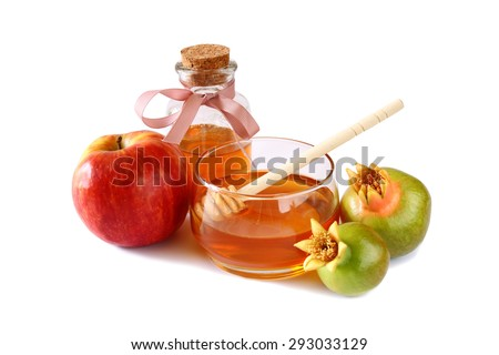 rosh hashanah (jewesh holiday) concept - honey, apple and pomegranate isolated on white. traditional holiday symbols.  - stock photo