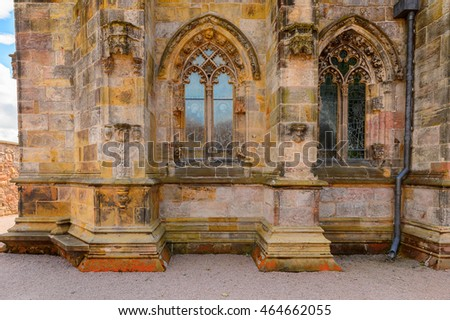 ROSLIN, SCOTLAND - JULY 18, 2016: Rosslyn Chapel (Collegiate Chapel of St Matthew), found by  by William Sinclair. It was mentioned in The Da Vinci Code book
