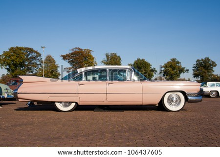 ROSMALEN, THE NETHERLANDS - OCTOBER 15: A 1959 Cadillac Sedan De Ville is shown at the Rock Around the Jukebox event on October 15, 2011 in Autotron Rosmalen, Holland - stock photo